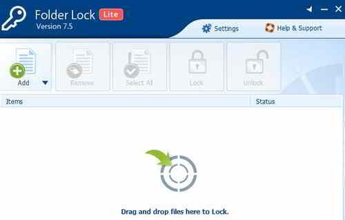 Окно программы Folder Lock