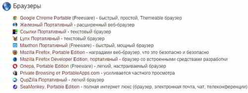 Программы на портале PortableApps.com
