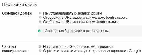 Указываем основное зеркало в Google