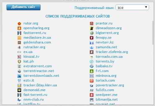 Список поддерживаемых сайтов