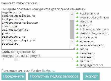 Конкуренты сайта