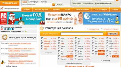 Регистратор доменных имен webnames.ru