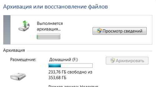 Процесс архивации в Windows 7
