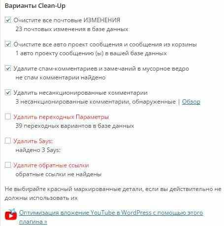 Настройки WP Optimize
