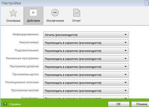 Действия с зараженными файлами