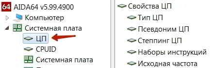Параметры центрального процессора ЦП