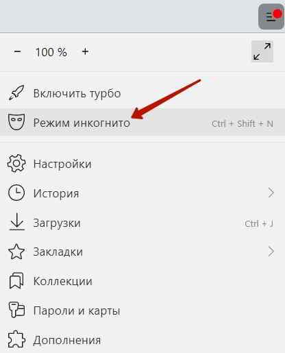 Включение режима инкогнито в Яндекс.Браузере